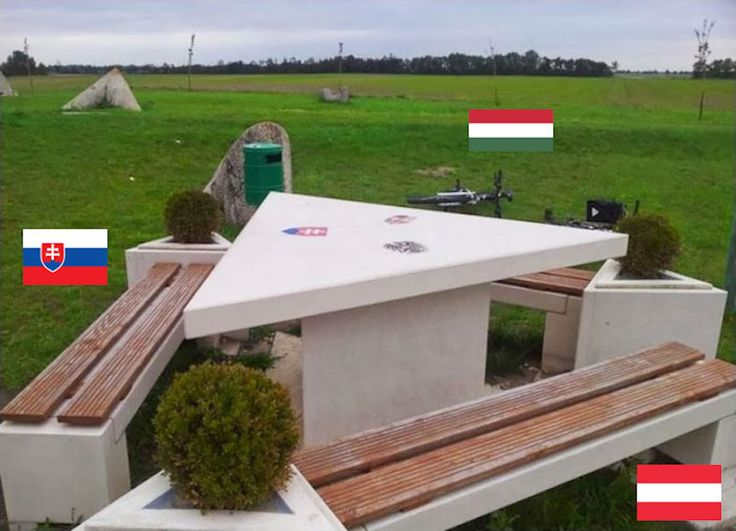 11. This picnic table divides the three nations - Slovakia, Austria And Hungary.