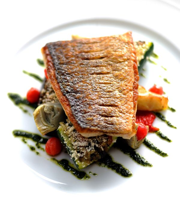 William Drabble's griddled sea bass recipe presents a fabulously colourful way to enjoy this flavourful fish