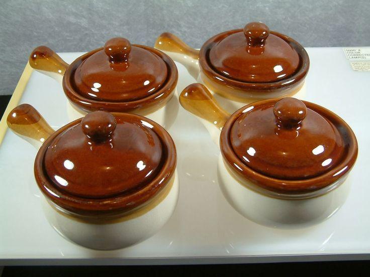 Vintage Glazed Ceramic Covered Bean Pots Soup Bowls With