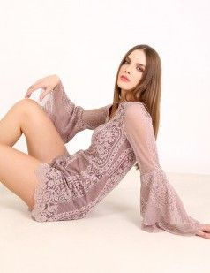 Playsuit in nude lace - Nude/Neutrals