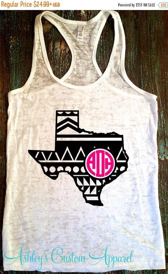 Monogram Tank - Texas Monogram Shirt - Aztec Print - Custom - monogrammed shirt - Texas Shirt - Texas Pride - Texas Baseball Tee - Texas  by AshleysCustomApparel