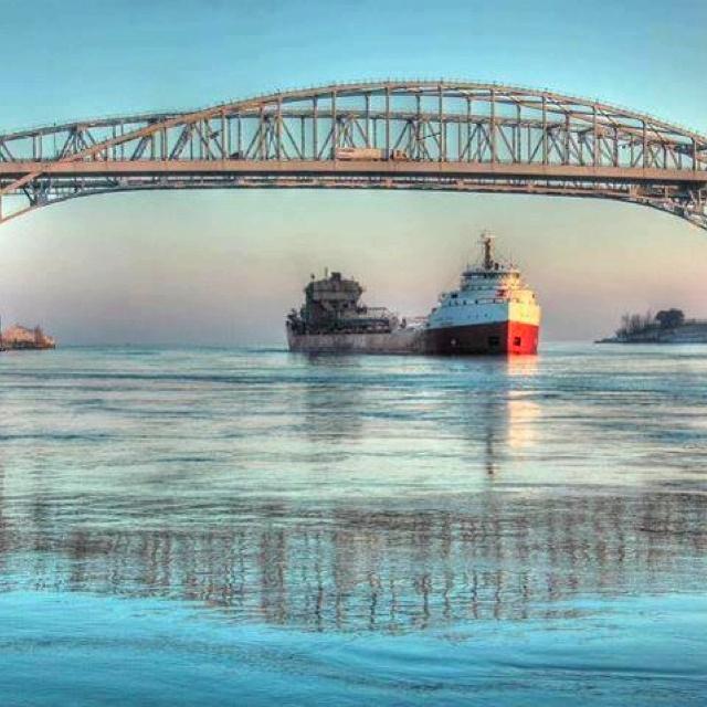 The blue water bridge in Port Huron, MI
