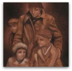 "Title: Brought as Lambs to the Slaughter.  From the artist: In the Spring and Summer of 1944, 450,000 Hungarian Jews were murdered in #Auschwitz. Of that group, 75% were women and children and upon arriving were sent to their death immediately. It took two hours from the time they got off the cattle cars until they were stuffed into the gas chambers. This mother appeared to me to be saying, ""These, my beautiful children, are being brought as lambs to the slaughter!"" (Isa.53) #Holocaust"
