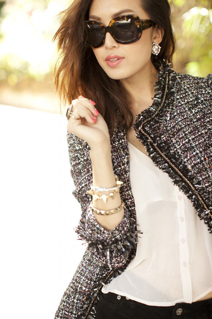 McGinn tweed jacket, Rory Beca tank, Dita sunglasses, and arm candy by Michael Kors, L.A.M.B., and Juliet  Company. Via The Chriselle Factor