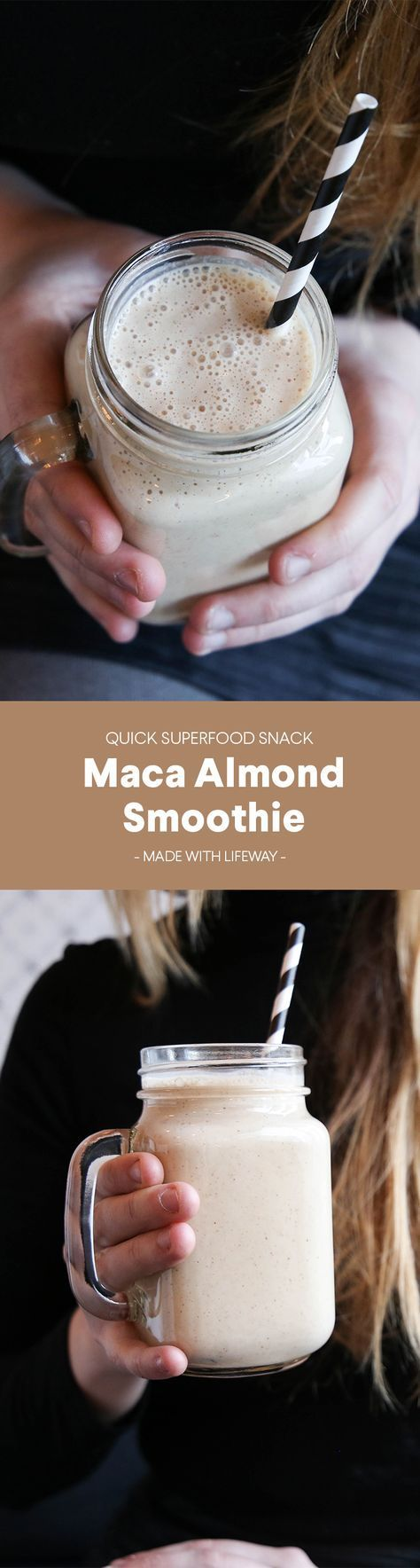 Naturally sweet maca meets rich almond butter in this decadent, probiotic-charged smoothie that will nourish your body and soul. #SmoothieSaturday