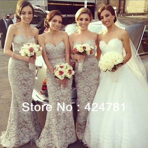 Mermaid Gray Lace Bridesmaid Dresses Long Floor Length Wedding Party 2017 New Arrival Us 138 00