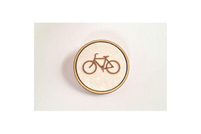 Round White filigree fabric, Bicycle veneer & Timber brooch by Kosbaar
