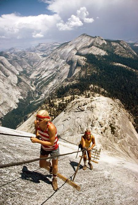 """""""Test for brawn and breath, Half Dome's 45-degree back-side trail evokes the vim of youth and the caution of increasing years."""" — Originally published in """"The Other Yosemite"""" in National Geographic magazine, June 1974"""