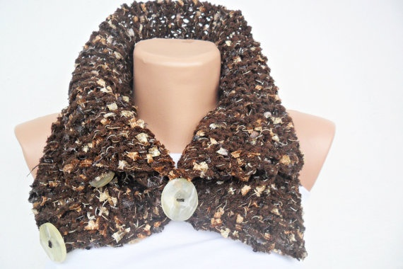 Hand Knitted Cowl  Neck Warmer  Brown Cowl  Winter by noyumberry, $27.00