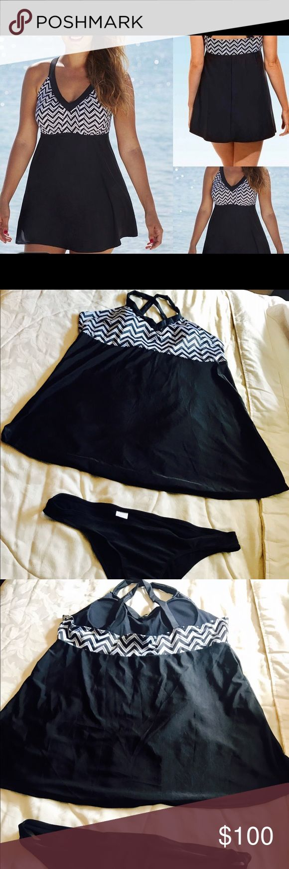 Bathing suite 5xlg but breast size only like a D Black and white two piece dress look, new noname Swim