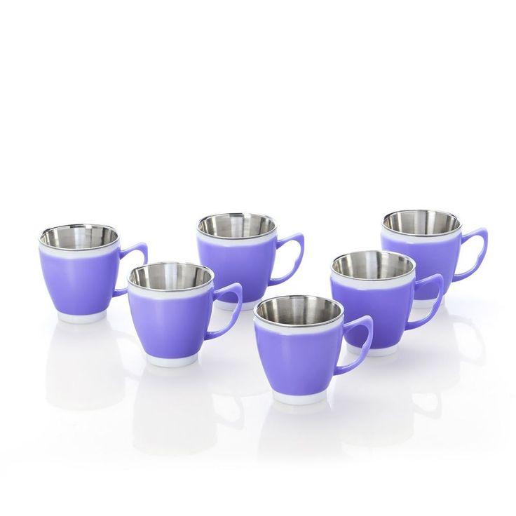 set 6 steel tea coffee mug plastic mugs steel plastic mugs Stainless Steel cups #Unbranded