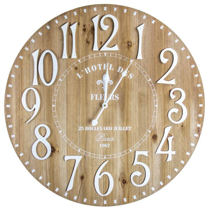 L'Hotel des Fleurs Paris Round Analog Wall Clock, Brown