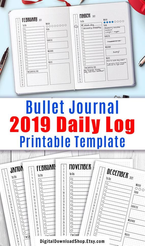 2021 Bullet Journal Daily Template Printable 2021 Daily Log Etsy Daily Bullet Journal Bullet Journal Bullet Journal Printables