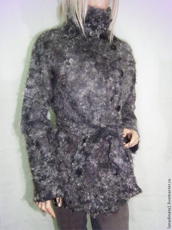 """Купить Куртка из валяной шерсти """"Gotland"""". Двухсторонняя - темно-серый, куртка, картка женская"""