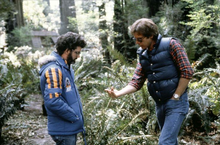 George Lucas & Harrison Ford on the set of Star Wars: Return of the Jedi (1983)