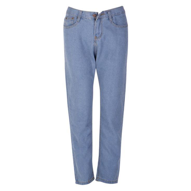 Fashion Women Casual High Waist Washed Light Blue True Denim Pants Boyfriend Jean Femme Women Jeans pantalones vaqueros mujer #Affiliate