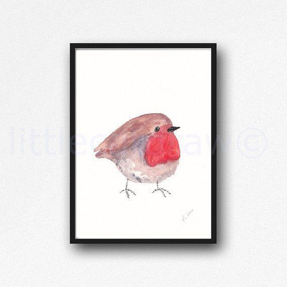 Paffuto piccolo rosso stampa Robin Bird Art di Littlecatdraw