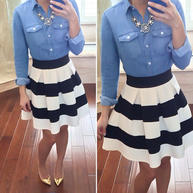 Shirt: Loft, Skirt: Modcloth Stripe It Lucky Skirt, Necklace: J.Crew Factory....cute minus the shoes