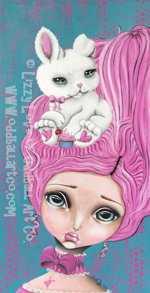 Big Eye Mixed Media Art Print Signed Let Them Eat Cake by Lizzy Love apprx 5x7
