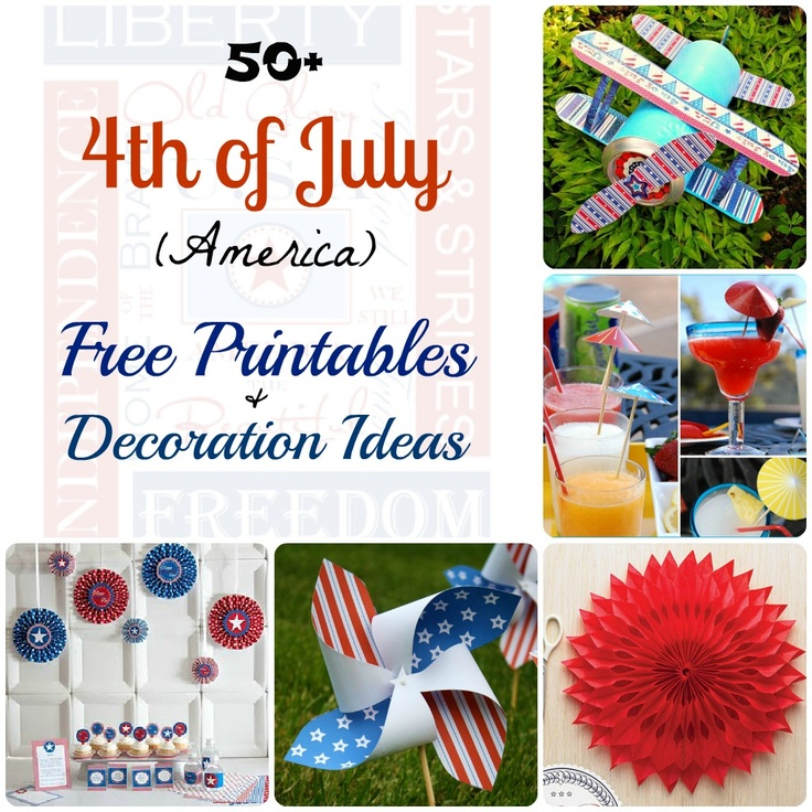 50+ free printable, recipes and decoration ideas July fourth (America Independence Day) #holiday