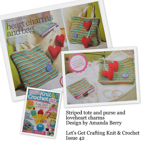 Striped tote and purse knitting pattern designs by Amanda Berry for Let's Get Crafting Magazine