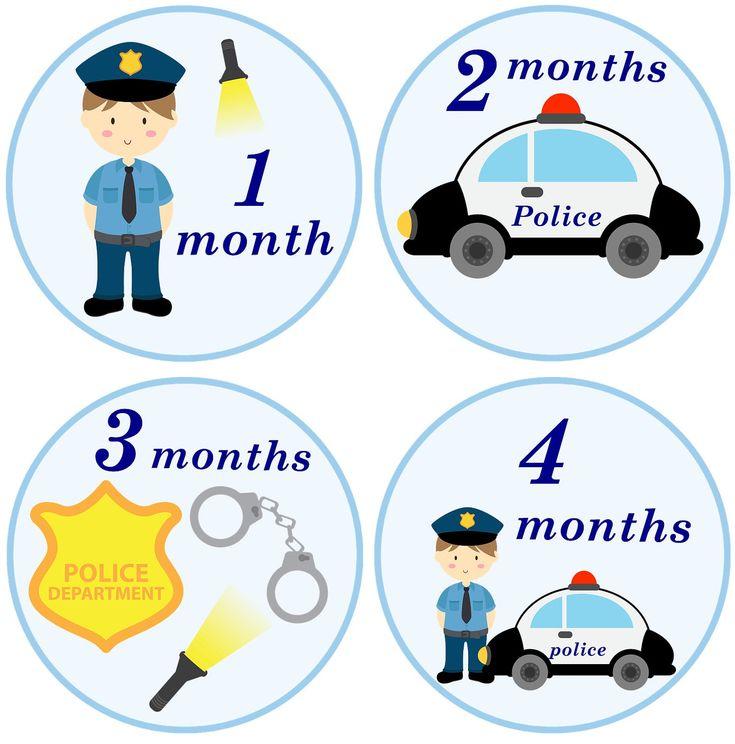 Police, Policeman Onsie Birthday Stickers. $9.00, via Etsy.