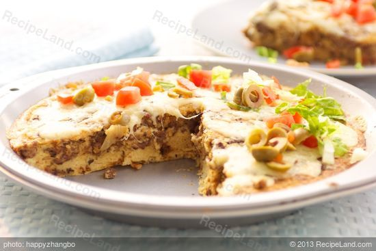 Impossible Taco Pie: This scrumptious pie is made with bisquik and a taco seasoning mix which gives it a true Mexican taste.