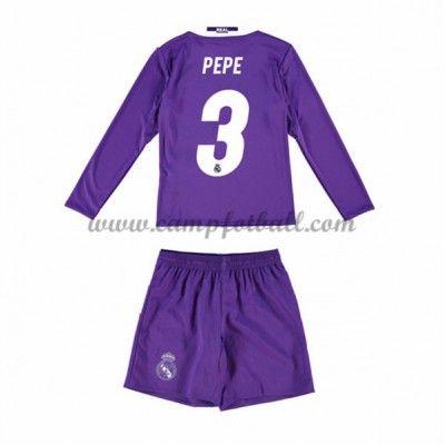 Fotballdrakter Barn Real Madrid 2016-17 Pepe 3 Borte Draktsett Langermet