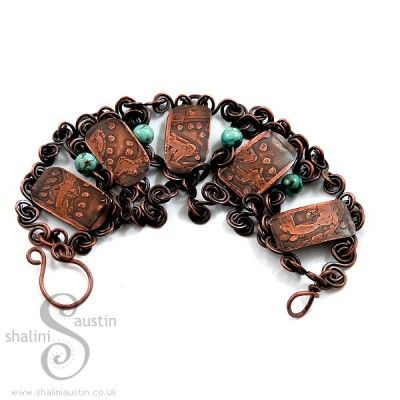 Etched Copper Bracelet with Turquoise Beads