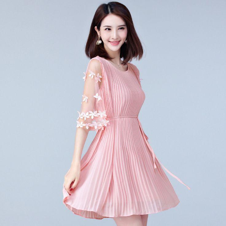 ==> [Free Shipping] Buy Best Elegant Summer Dress Female Chiffon Dress Sweet Mesh Splice Ladies Dresses Black and Pink Korean Women Fashion Dresses Online with LOWEST Price   32813354275