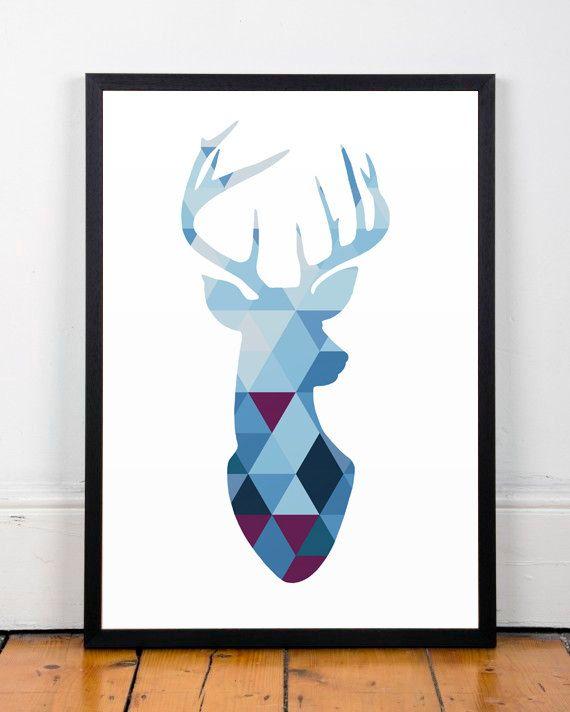Triangles de silhouette, géométrique, Poster, cerf, minimalistes, imprimés art, minimaliste cerf, cerf géométrique = tirage dart moderne,