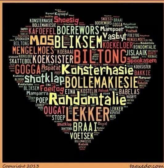 Tipiese afrikaanse woorde