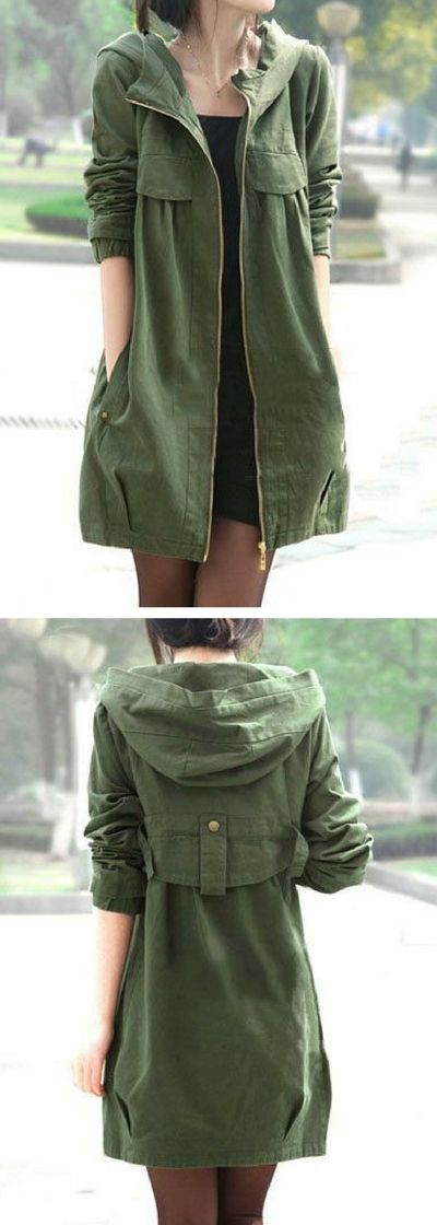 Army Green Zipper Up Hooded Collar Pocket Coat.