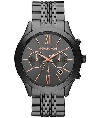 Michael Kors Watch, Men's Chronograph Brookton Gunmetal-Tone Stainless Steel Bracelet 45mm MK8318