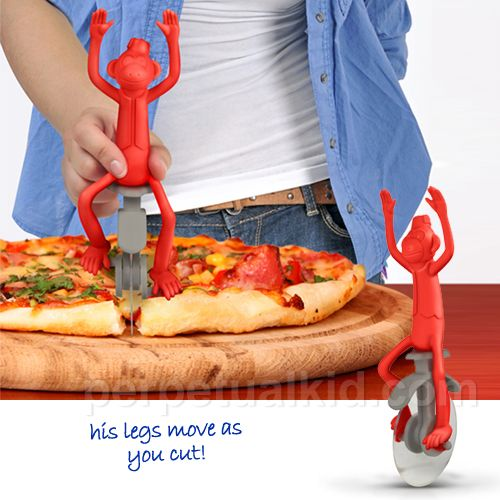 Pizza Peddler Rolling Cutter, $17.99 from Perpetual Kid. The monkey's legs move on the unicycle as you cut! #fun #kitchen