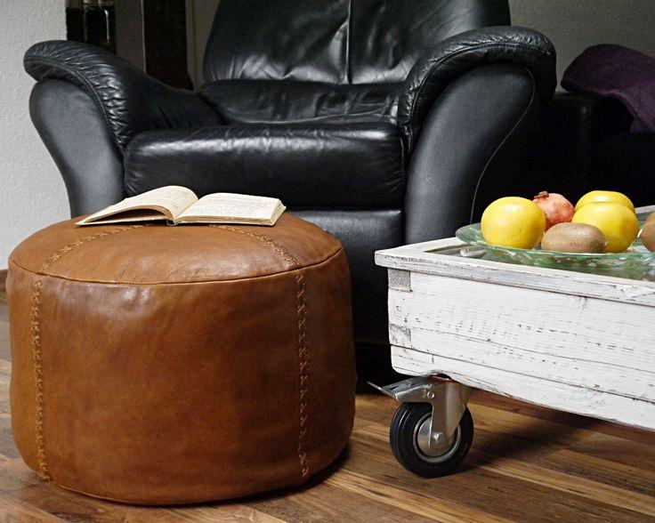 Läder Sittpuff Vintage Look