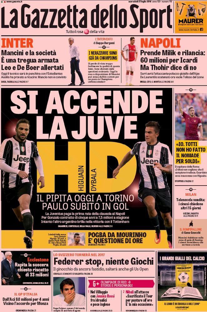 Prima pagina La Gazzetta dello Sport Sport, Calcio