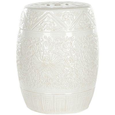 Safavieh Everest Gardens Embossed Ceramic Garden Stool  $117 ea - for underneath console table