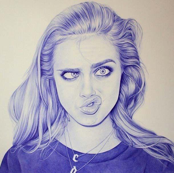 Girl pen drawing by Eva Garrido http://webneel.com/pen-drawings | Design Inspiration http://webneel.com | Follow us www.pinterest.com/webneel