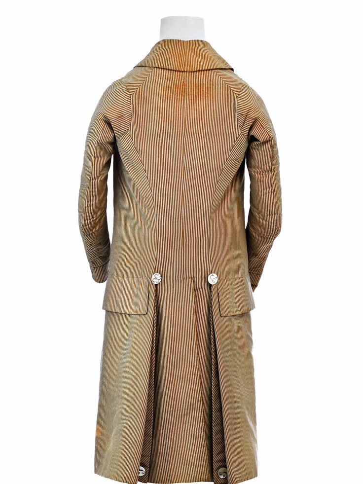 Back view, formal coat, France or Italy, c. 1790-1795. Coffee brown and sky blue striped silk.