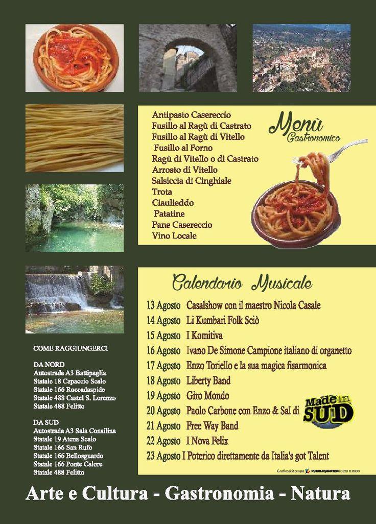 Programma musicale e menù della quarantesima edizione della Sagra del Fusillo Felittese dal 13 al 23 Agosto al centro di Felitto