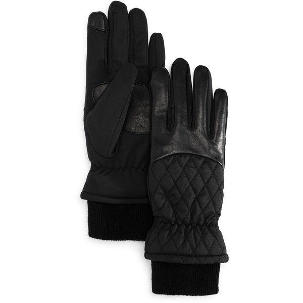 Echo Warmest Sheepskin Superfit Tech Gloves ($105) ❤ liked on Polyvore featuring accessories, gloves, black, sheepskin lined gloves, echo gloves, lined gloves and sheepskin gloves