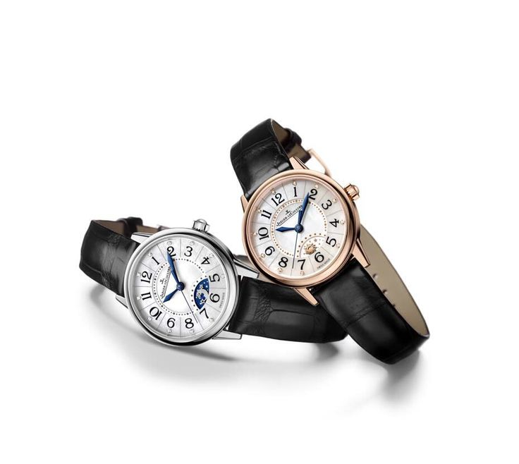 The Jaeger-LeCoultre Rendez-Vous Night and Day in pink gold and steel.