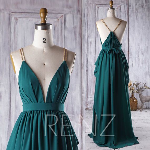 2016 Dark Green Bridesmaid Dress, V Neck Ruched Wedding Dress, Gold Spaghetti Straps Prom Dress, A Line Evening Gown Floor Length (H276)
