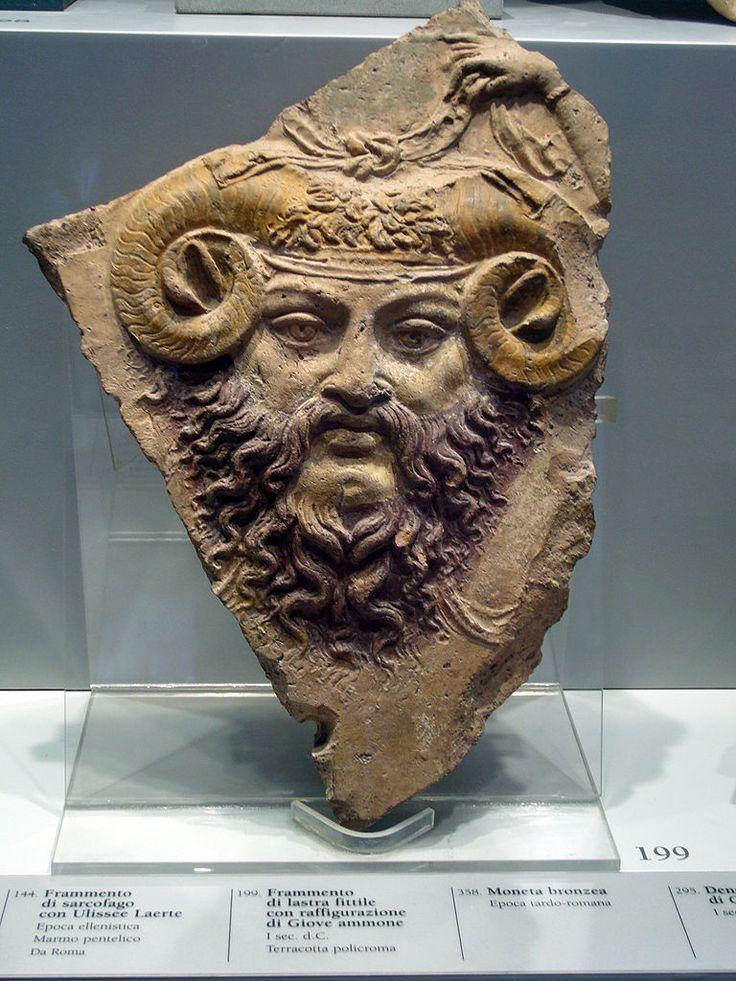 Zeus (Jupiter) Ammon, Roman-Egyptian slab fragment (terracotta), 1st century AD, (Museo Barracco, Rome).