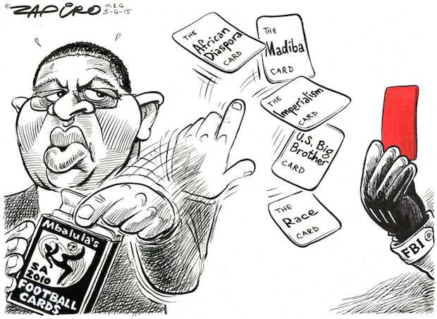 Zapiro - Mbalula's SA 2010 Football Cards published in Mail & Guardian on 5 June 2015