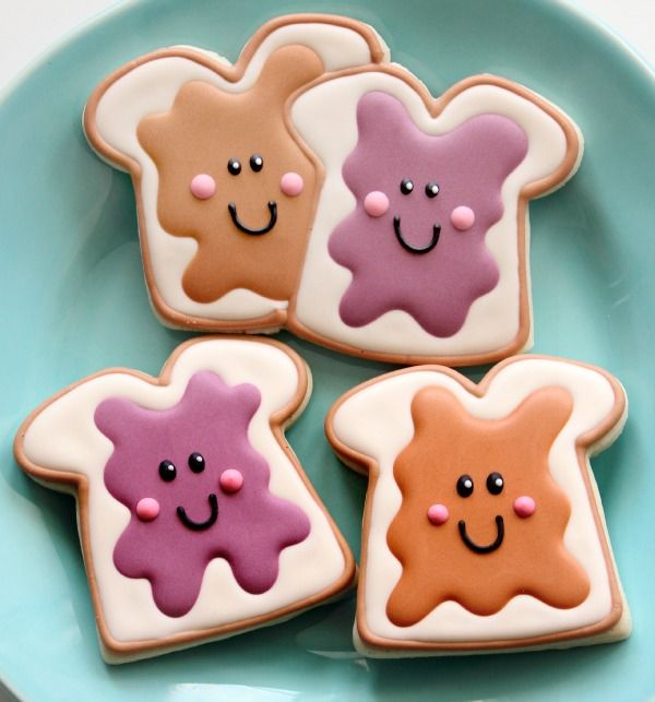 "You're-the-Peanut-Butter-to-My-Jelly Cookies ~ Scroll down towards the bottom of the page. Click on the picture of these cookies and it takes you to the recipe. This entire site "" The Sweet Adventures of Sugarbelle"" has the cutest cookie decorating ideas I've ever seen. If you had the unique cookie cutters & the time, you'd be a hit wherever you served them:) Soooo cute!"