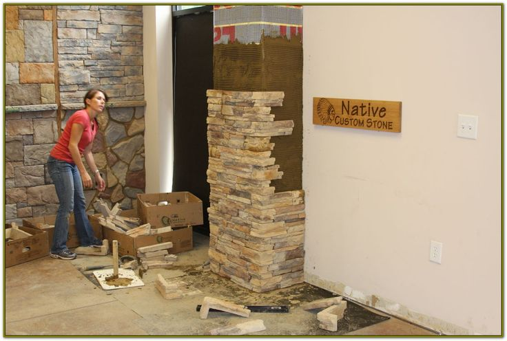 Faux Stone Siding For Homes Weekend DIY Stone Veneer ----- either around the fireplace or on the column in the living room - or both. We're gonna need a ladder.