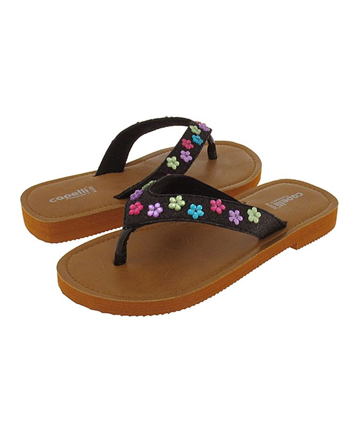 Look at this Capelli New York Black Daisy-Embellished Flip-Flop on #zulily today!