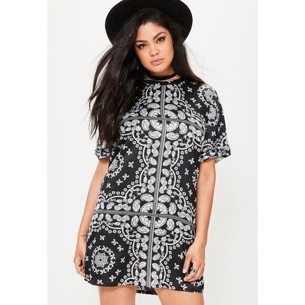Missguided Plus Size  Paisley Printed T-Shirt Dress ($48) ❤ liked on Polyvore featuring dresses, black, t shirt dress, t-shirt dresses, paisley dress, tee dress and missguided dresses